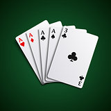Poker hand cards four of a kind template