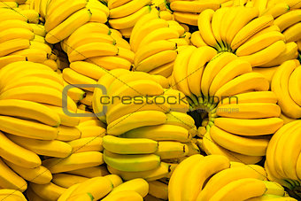 Fresh banana yellow background.