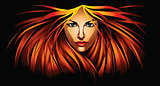 Beautiful girl with fire red hair