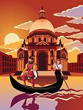 Gondola ride through Venice at dusk