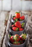 Strawberries on wood