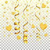 Gold Streamer on transparent background