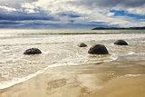 boulders at the beach of Moeraki New Zealand