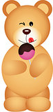 Teddy bear eating lollipop