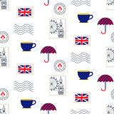 British symbols vector seamless pattern.