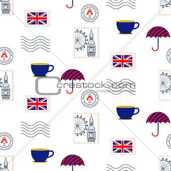 British symbols vector seamless pattern.