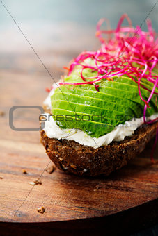 Avocado sandwich on dark rye bread made with fresh sliced avocad