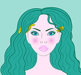 Pisces beautiful girl vector portrait
