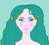 Pisces beautiful girl vector portrait