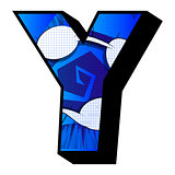 Letter Y filled with comic book background.