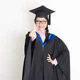 University student thumb up