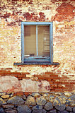 Rustic old blue wooden cottage window frame