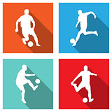 soccer silhouettes on flat icons for web or mobile applications