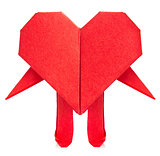 Red heart of origami with arm and leg.