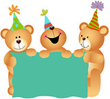 Birthday teddy bears with signboard