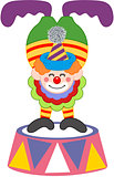 Clown on top of a circus platform