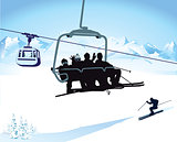 Skiing and chairlift in winter