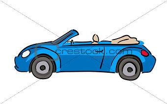 Blue car hand drawn