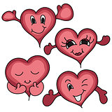 Cartoon happy hearts icon