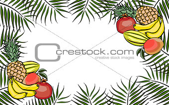 Frame background tropical fruits