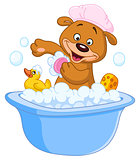 Teddy bear taking a bath