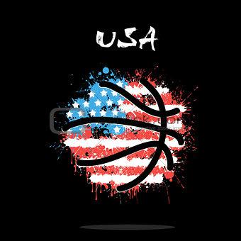 Flag of USA as an abstract basketball ball