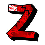 Letter Z filled with comic book background.