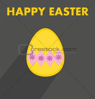 Flat vector easter egg with yellow wishes on dark background