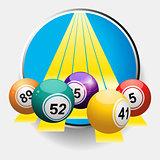 Bingo balls on yellow stripes border