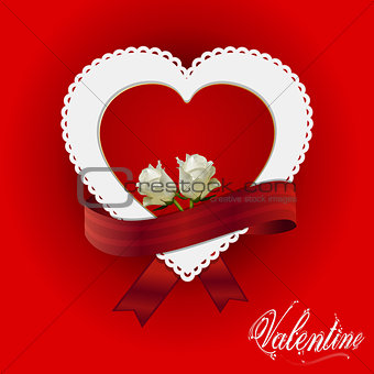 Valentine heart card ribbon and roses