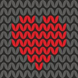 Tile knitting vector pattern with red heart on black background