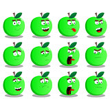 Cartoon apples with facial expressions.