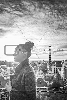 modern tourist woman in Barcelona, Spain looking into distance