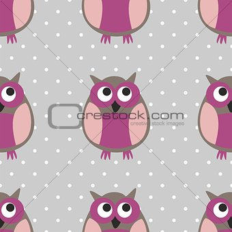 Tile vector pattern with owls on grey and polka dots background