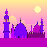 Landscape with mosques and sunset.