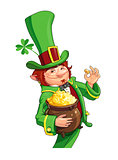 Gnome leprechaun. Fairy-tale character for Saint Patrick's Day