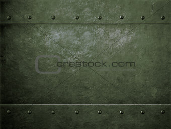 old metal green military background with rivets