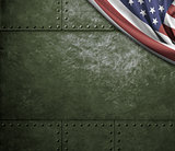 military green metal background with USA flag