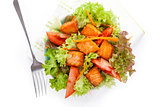Fresh salmon vegetable salad.