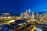 Singapore Central Business District Cityscape at Blue Hour
