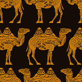 Seamless vector pattern with caravan camels