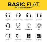 Basic set of Headphones icons