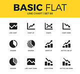 Basic set of Line chart icons