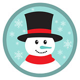 Cute snowman head icon button