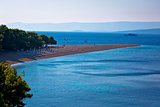 Famous Zlatni Rat beach on Brac island view