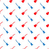 Red Blue Guitar Silhouettes Seamless Pattern