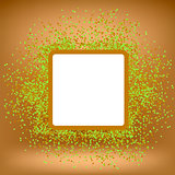 White Square Banner on Orange Gradient Background