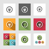 Plug icon set