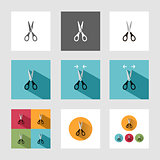 Scissors icon set