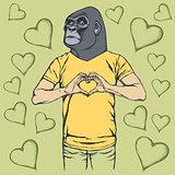 Monkey Valentine day vector concept